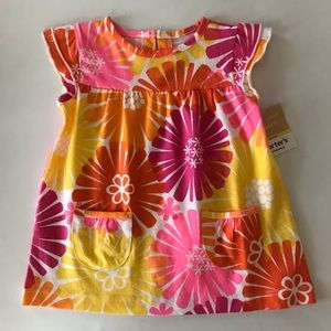 Baby Girl Floral Sun Dress Pink Yellow Cotton